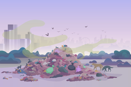 Smelly stinking littering waste dump landfill with cats and dogs and city skyline on the background vector illustration.