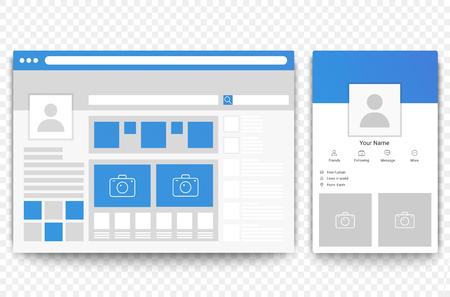Browser di pagine web e mobili di social network. Concetto di illustrazione vettoriale di interfaccia pagina sociale. Vettoriali