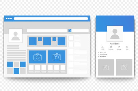 Social network web and mobile page browser. Concept of Social page interface vector illustration.