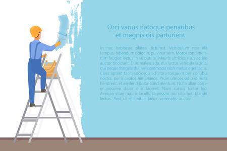 Pittore decoratore dell'uomo con un rullo di vernice che dipinge una parete di colore. Concetto di processo di aggiornamento e riparazione. Illustrazione vettoriale di ricostruzione del sito web