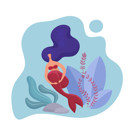 Adult mermaid woman volumetric design. Template for design cards, notebook, shop store, poster vector illustration