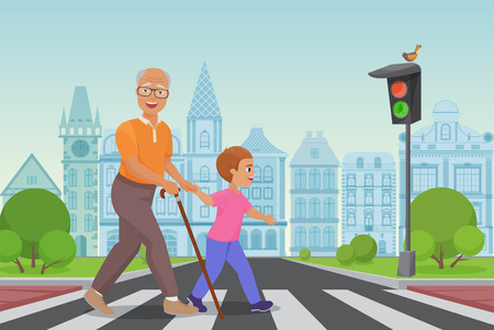 Helping old man. Little boy helps an old man to cross the road in city vector illustration