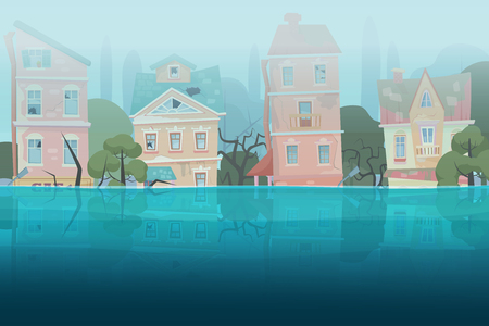 Damaged by natural disaster flood houses and trees partially submerged in the water in cartoon city concept. Storm city landscape vector illustration. Illustration