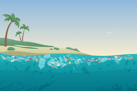 Sea garbage in polluted water. Dirty ocean beach with trash and plastic on sand and under water surface vector illustration concept