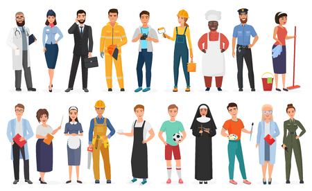 Collection of men and women people workers of various different occupations or profession wearing professional uniform set vector illustration