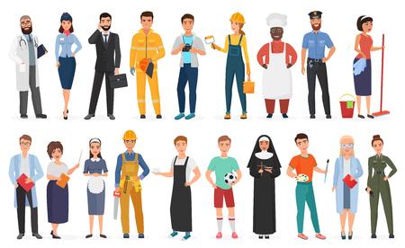 Verzameling van mannen en vrouwen mensen arbeiders van verschillende beroepen of beroepen die professionele uniforme set vectorillustratie dragen Vector Illustratie