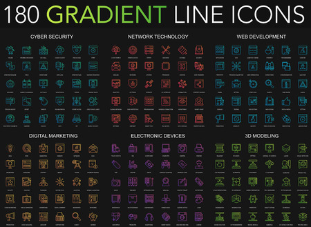 180 trendy gradient style thin line icons set of cyber security, network technology, web development, digital marketing, electronic devices, 3d modeling isolated on black background Vectores
