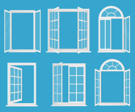 White wooden plastic realistic windows set with transperant glass vector illustration.