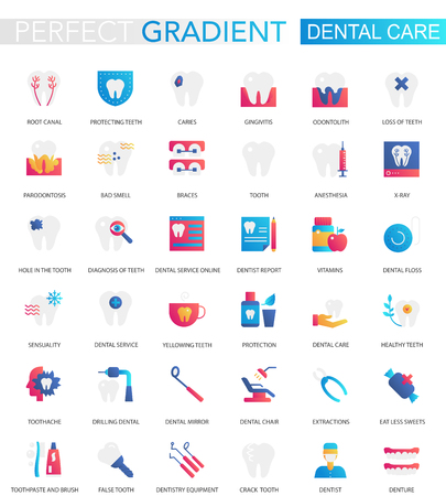Vector set of trendy flat gradient dental care icons.