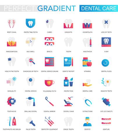 Vektorset mit trendigen, flachen Farbverlaufs-Zahnpflegesymbolen. Vektorgrafik