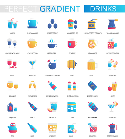 Vector set of trendy flat gradient drink icons. Various types of drinks. Illustration