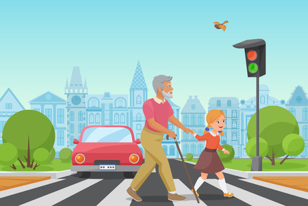 Helping senior old man. Little girl kid helps an old man to cross the road in city vector illustration