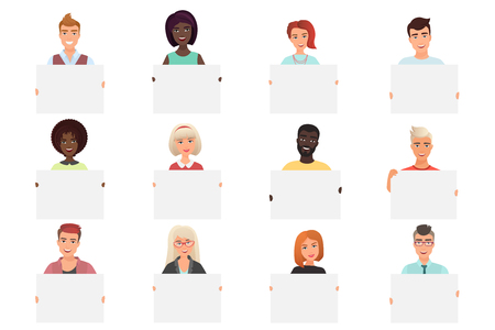 Set of different smiling people holding white blank posters isolated on white backround. Colourful vector illustration