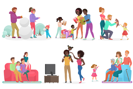 Cartoon scenes of family life set. Mother, father, daughter and son. Parents with kids watching TV, walking, playing snowballs and playing outside vector illustration
