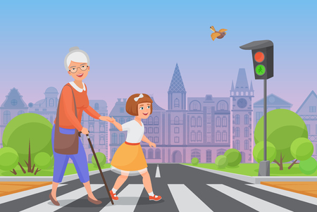 Polite little girl helps smiling old woman to pass the road at a pedestrian crossing while the green light shines. Color vector illustration