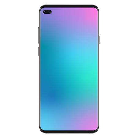 New generation version of black slim realistic no frame smartphone with gradient mesh screen wallpaperr vector illustration Ilustração