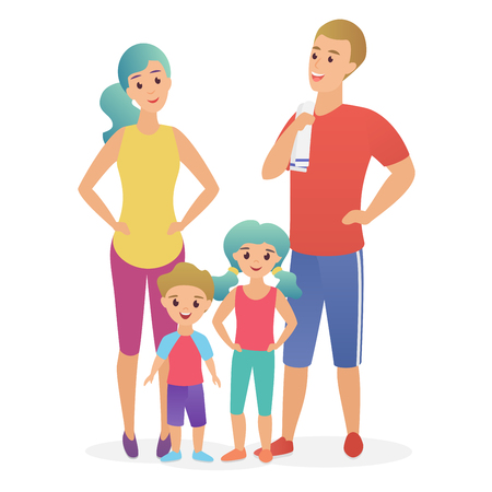 Sport fitness family. Dad, mother, son and daughter lead a healthy lifestyle flat vector illustration Stock Illustratie