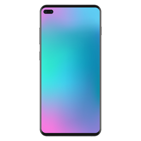 New generation version of black slim realistic no frame smartphone with smooth gradient mesh wallpaper vector illustration  イラスト・ベクター素材