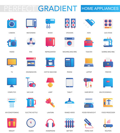 Vector set of trendy flat gradient Home appliances icons. Çizim