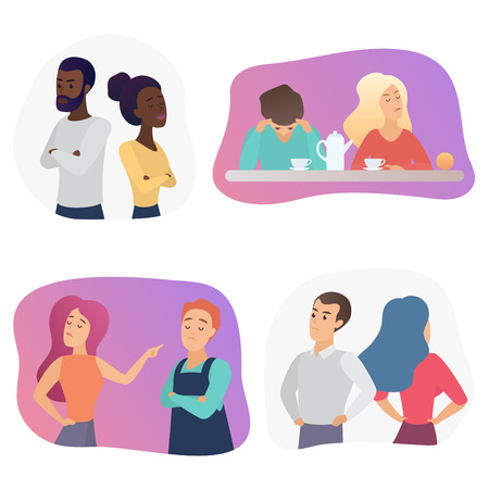 People couples during conflict quarrel or disagreement. Set of offended men and women quarreling, bickering each other cartoon vector illustration