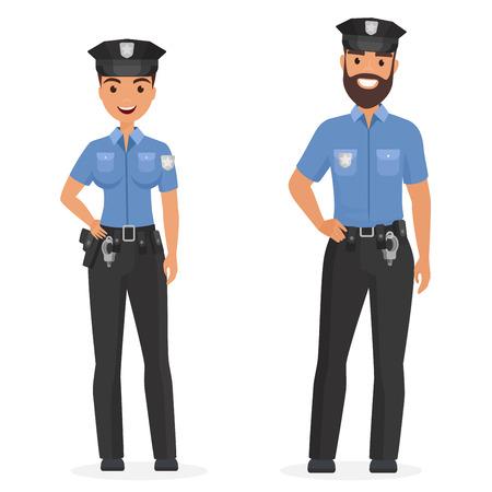 Dwóch młodych szczęśliwych policjantów, mężczyzna i kobieta na białym tle ilustracja kreskówka wektor vector Ilustracje wektorowe