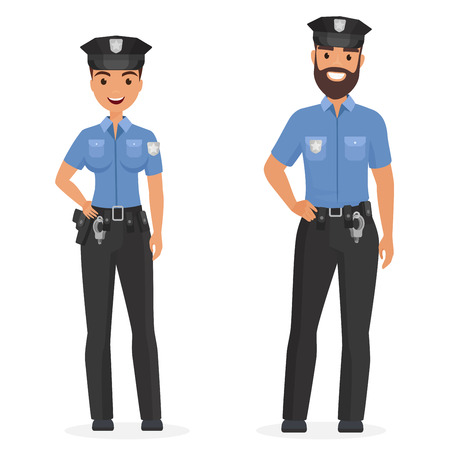Two young happy police officers, man and woman isolated cartoon vector illustration