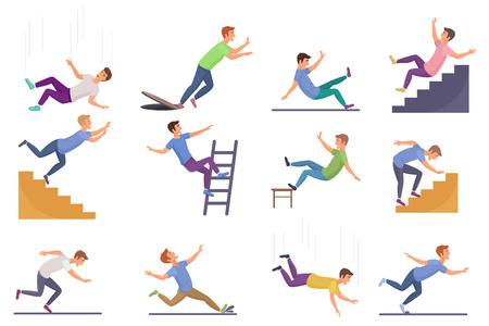 Ensemble d'homme tombant isolé. Tomber d'un accident de chaise, tomber dans les escaliers, glisser, trébucher illustration vectorielle de l'homme qui tombe