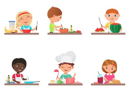 Enfants mignons de bande dessinée préparant la nourriture sur l'illustration de vecteur d'isolement d'ensemble de cuisine
