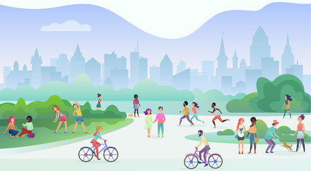 Group of people performing sports activities at park. Doing gymnastics exercises, jogging, talking and walking, riding bicycles, playing with pets. Modern public city park street vector illustration