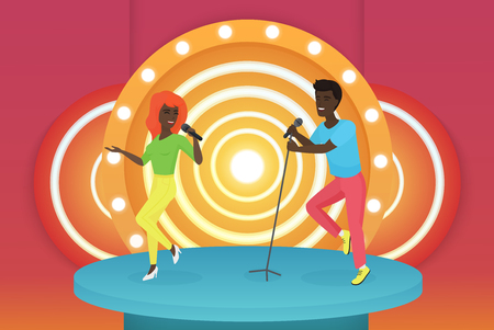 Black African American young smiling singer couple dancing and performing on the bright stage. Colourful vector illustrarion.