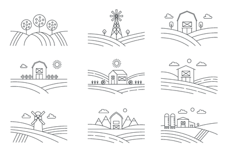 Set of different line eco farm landscapes isolated on white background. Rural landscape with windmill, silage tower, trees. Linear style vector illustration. Иллюстрация