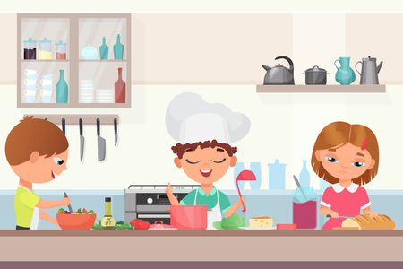 Happy little cute children kids cooking delicious food in the kitchen. Chef boy in a cooks cap holds a ladle cooking soup, girl cuts the baton, kid in an apron prepares salad vector illustration.