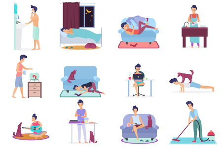 Daily life, everyday routine scenes of young man. Playing on guitar with dog, watching TV, working on laptop, sleeping, cleaning room, cooking, washing clothes, doing exercises vector illustration