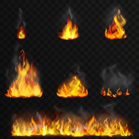 Realistyczne wysokiej szczegółowe wektor zestaw płomieni ognia.