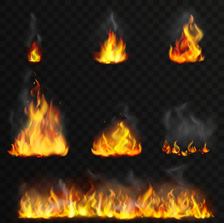 Realistic high detailed vector fire flames set. Illustration
