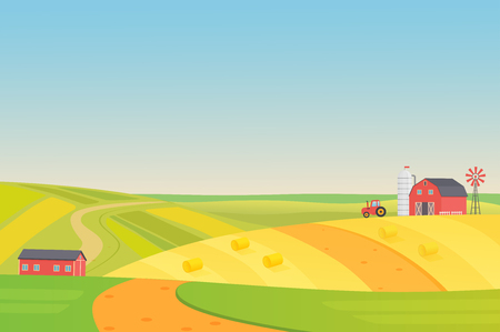 Autumn sunny eco harvesting farm landscape with agriculture vehicles, windmill, silage tower and hay. Colorful flat vector illustration