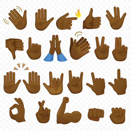 Set of african american or brazilian black hands icons and symbols. Emoji hand icons. Different cartoon gestures, hands, signals and signs set vector illustration Ilustrace