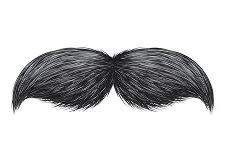 Illustration vectorielle de moustache rétro classique vintage réaliste isolé Vecteurs