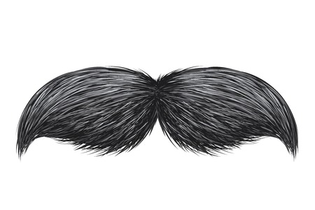 Realistic vintage classic retro mustache isolated vector illustration