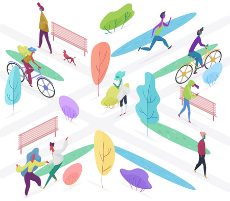 Isomeric people outdoor activity in public park. Walking with dog, riding bicycle and walking alone vector illustration