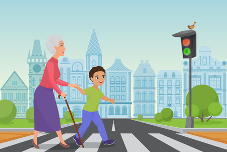 Polite little boy helps smiling old woman to pass the road at a pedestrian crossing while the green light shines. Cartoon vector illustration