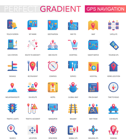Vector set of trendy flat gradient GPS navigation, location icons Vectores