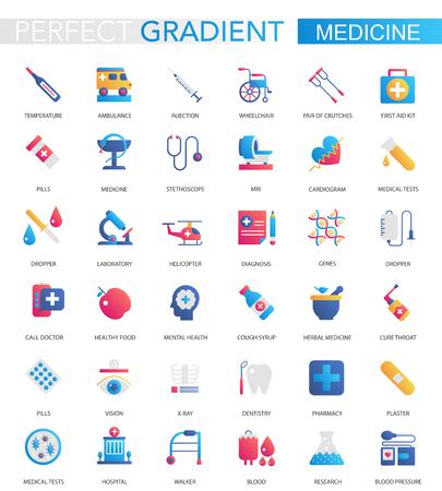 Ensemble de vecteur d'icônes médicales et de soins de santé à la mode dégradé plat Vecteurs