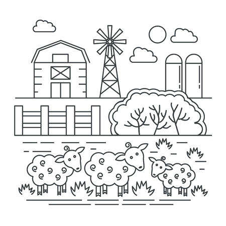 Agriculture farm with sheeps thin line concept logo template vector illustration.