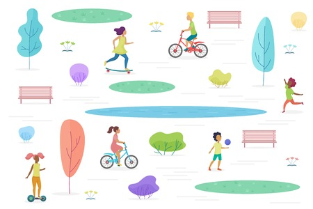 Public park with walking, riding and playing kids isolated. Amusement park for children vector illustration