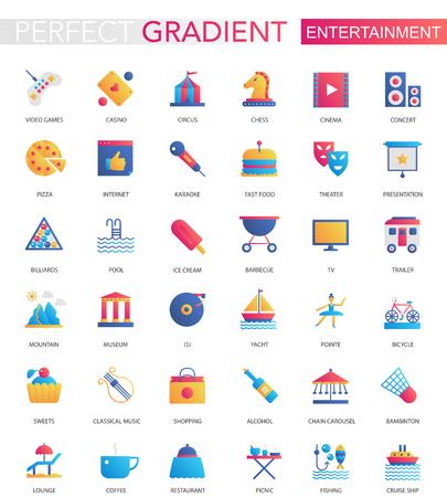 Vector set of trendy flat gradient Entertainment icons Vektorové ilustrace