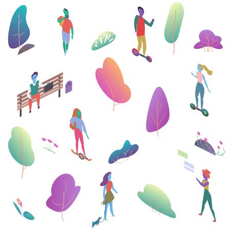 Différentes personnes plates 2d isomériques dans un parc public. Les hommes et les femmes ont une illustration vectorielle d'activité de plein air