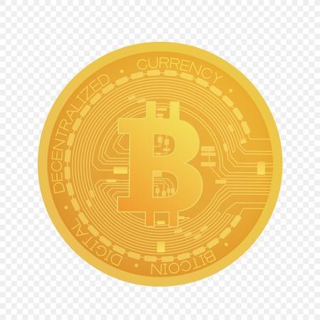 Cartoon vector golden bitcoin coin isolated on alpha transperant background Banco de Imagens - 122040637