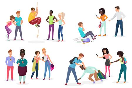 Gruppenschüler schikanieren ihre Mitschüler. Menschendiskriminierung, Rassismus und negative Kommunikation in der Schul- und Gesellschaftskonzeptvektorillustration