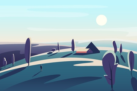 Beautiful landscape with village house in the fields meadows abstract minimalistic vector illustration Ilustrace